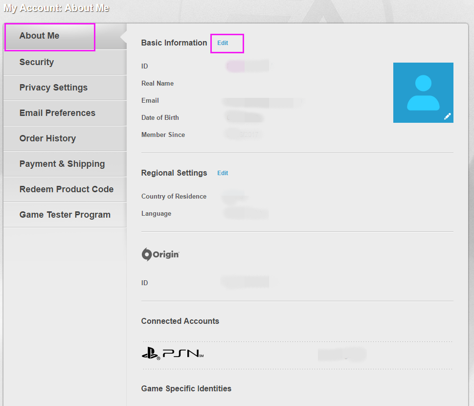 How To Change Origin Account Information,title